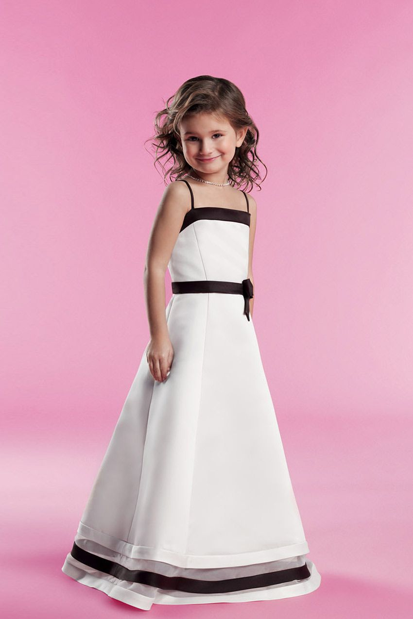 Spaghetti straps tulle and satin dress for flower girlwedding guest