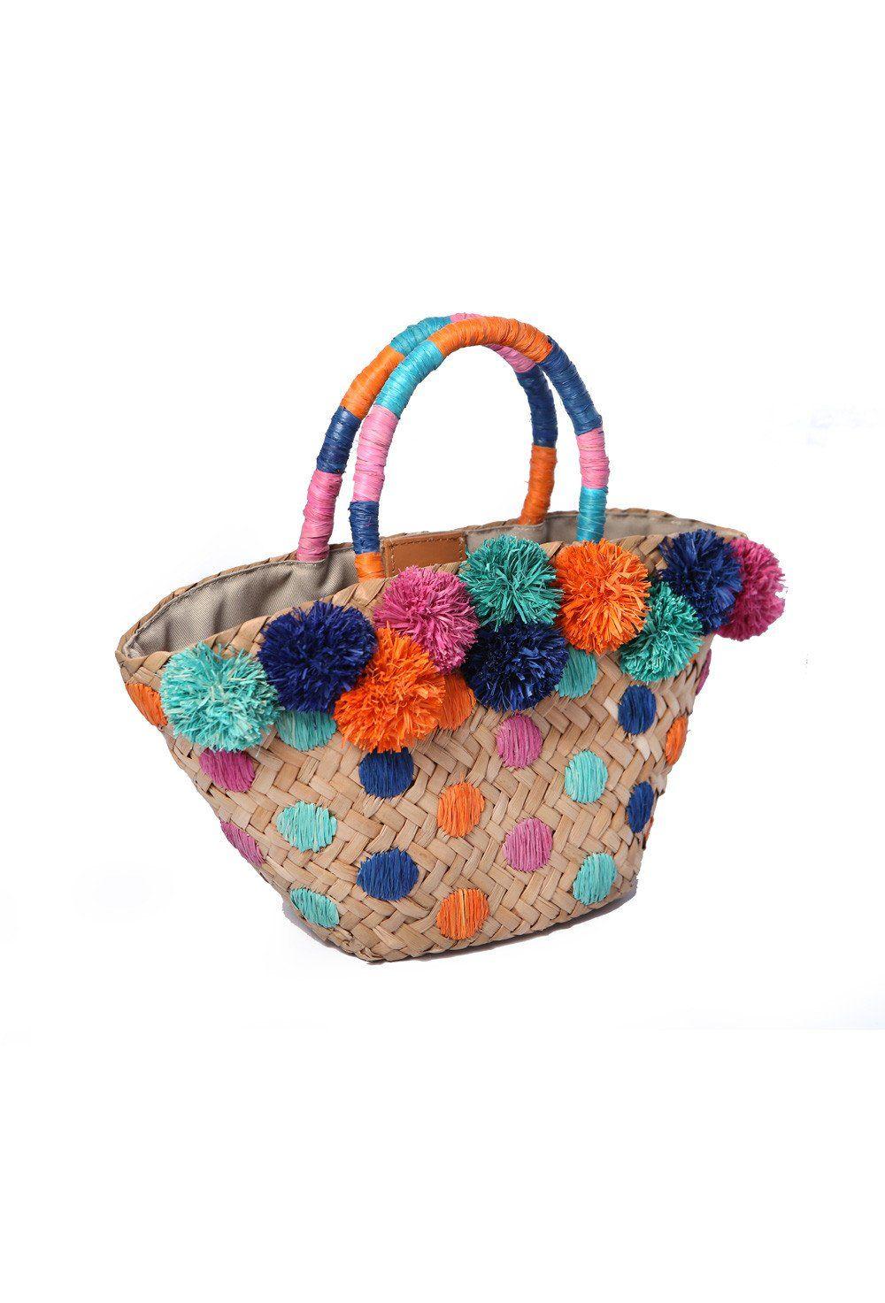 Mini Chiquita Basket With Pompoms Aranaz Bags Beach Flamingo