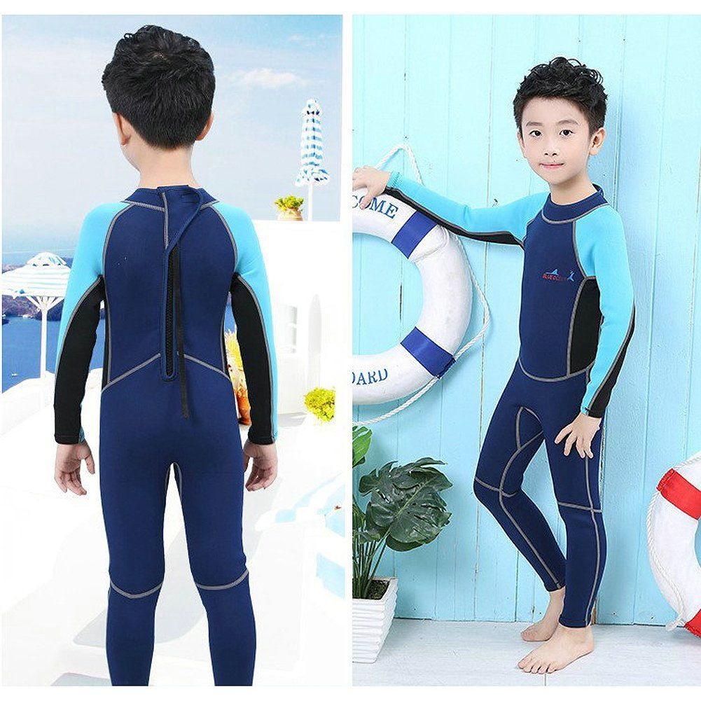 81b763040b Canoeing - Kids Girls Boys 2.0mm Neoprene Wetsuit Long Sleeve Swimsuit One  Piece UV Protection Thermal Wetsuit Beach Wear Diving Surfing Swimming Suit  Blue ...