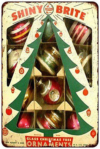 Glass Christmas Tree Ornaments Vintage Reproduction Metal. - Glass Christmas Tree Ornaments Vintage Reproduction Metal