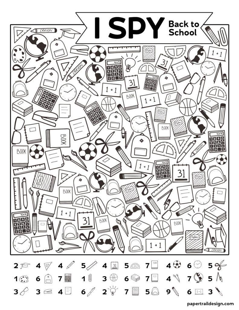 Free Printable I Spy Back To School Activity Paper Trail Design Back To School Activities School Activities Back To School Night [ 1024 x 791 Pixel ]