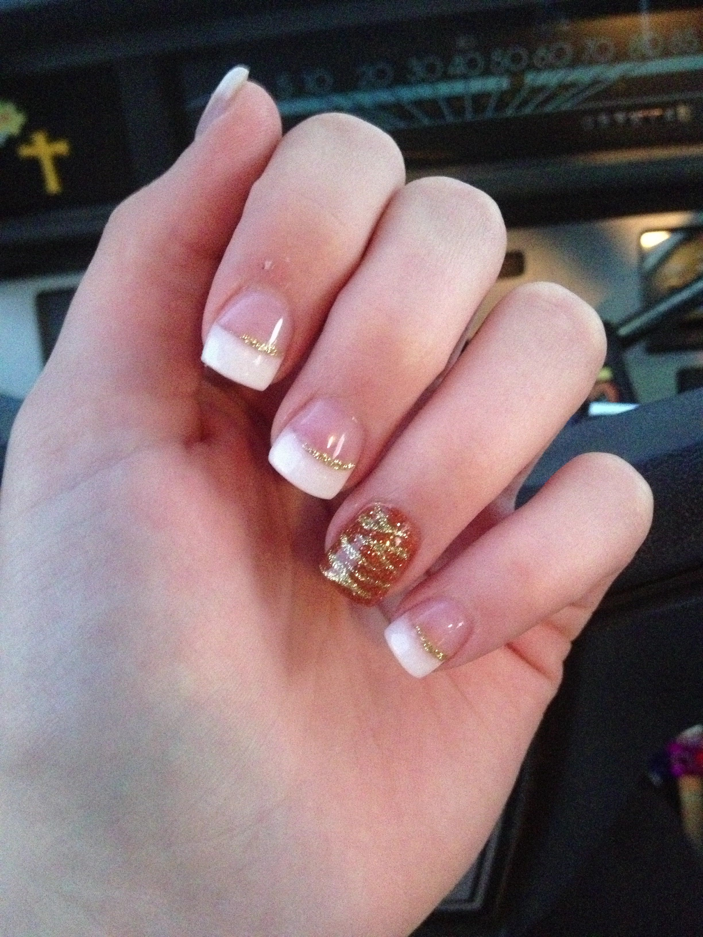 Fall Nail Design Pink And Whites With Custom Burnt
