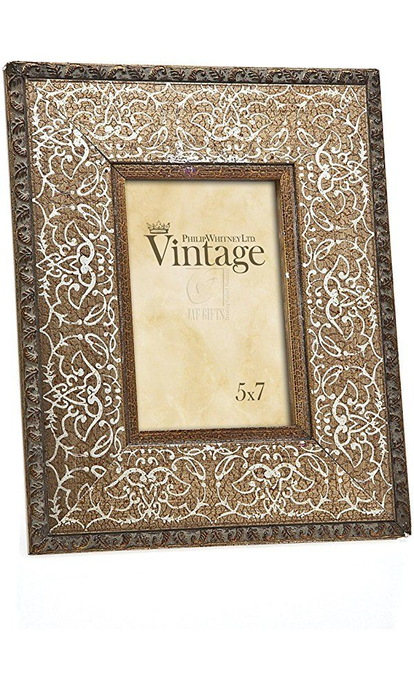 Philip Whitney 5x7 Rugged Vintage Wooden Gold Scroll Picture Photo