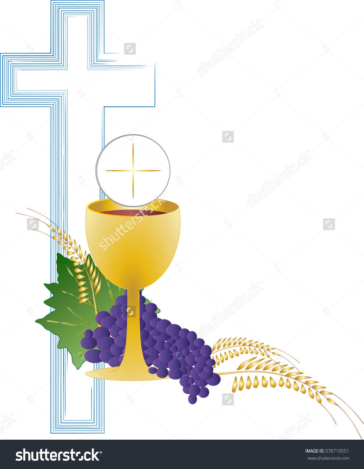 Eucharist Symbol Of Bread And Wine, Chalice And Host, With Wheat ...