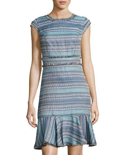 55a7dc07 Multi-Texture Fringed Flounce Dress, Blue Pattern Vestido De Flecos,  Vestidos Azules,