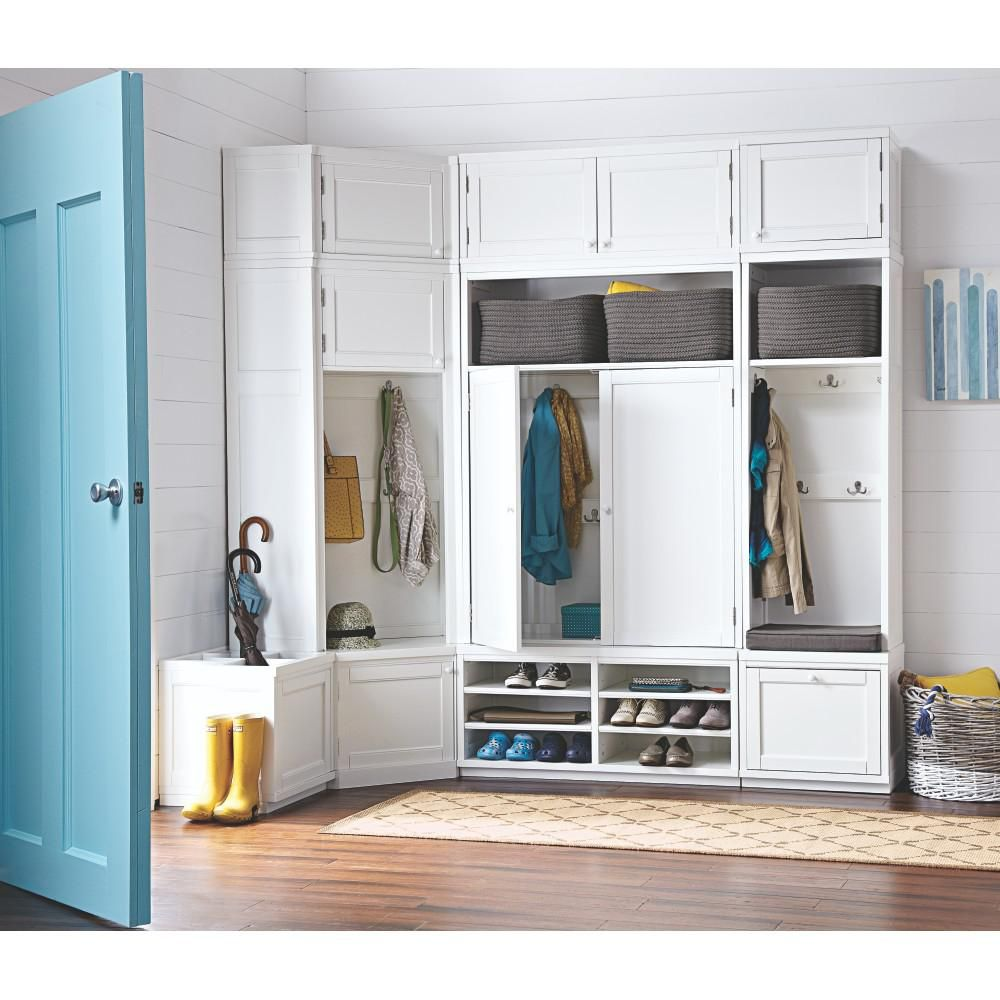 Mudroom in x in door angled hutch in picket fence