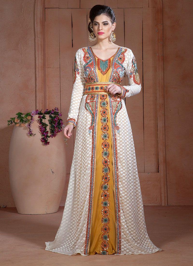 Caftan Kaftan Satin Moroccan Dress Gown Embroidery Fancy Wedding w//Belt Magenta