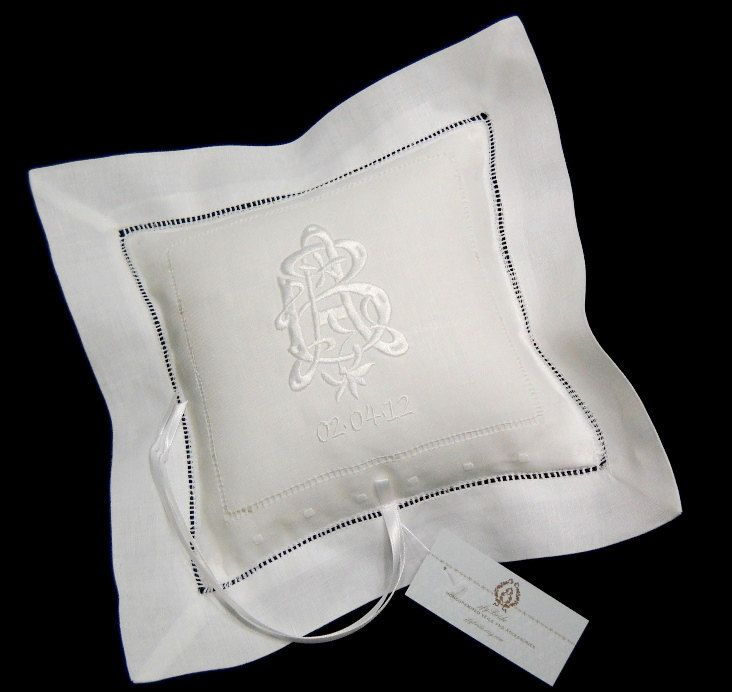 Find this Pin and more on Future Wedding Ideas. This white Irish Linen ring bearer ... & monogrammed linen pillow | Future Wedding Ideas | Pinterest | More ... pillowsntoast.com