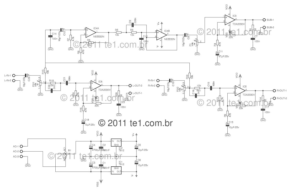 Amplificador Tda2030 21 Subwoofer 450x292 Circuito De Watt Power Amplifier Schematic Electronic Circuit Audio With Design Satellite Speakers Stereo Circuits