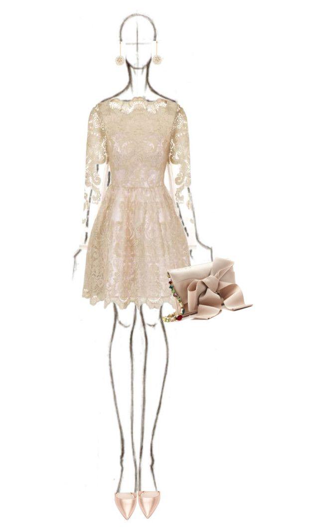 """Nude Lace Dress"" by katsin90 ❤ liked on Polyvore featuring Lele Sadoughi, Chi Chi, Oscar de la Renta and Nicholas Kirkwood"