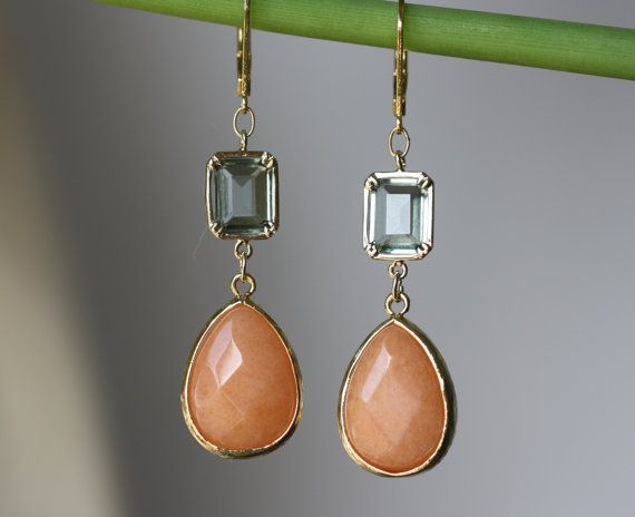 Black Diamond Rectangle Glass, Apricot Orange Jade, Gold Elegant Earrings, Fashion Jewelry, Summertime, Bridal Shop, Gift for Wife, Trending