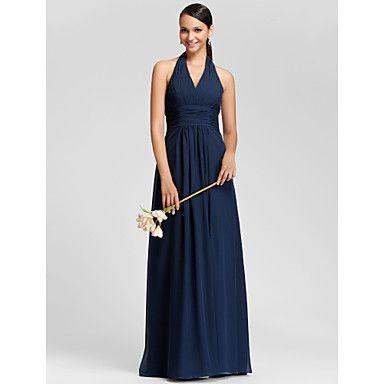 vestido de cabestro columna vaina de gasa longitud del piso vestido de dama de honor – EUR € 59.08