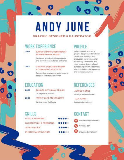 Colorful Brush Strokes Creative Resume Resume Pinterest - junior graphic designer resume