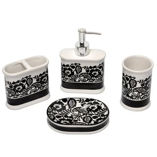 Esmee Black And White Bath Accessory 4 Piece Set