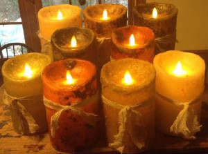 On our January 2015 cover: Luminara candles from Raggedy Junction