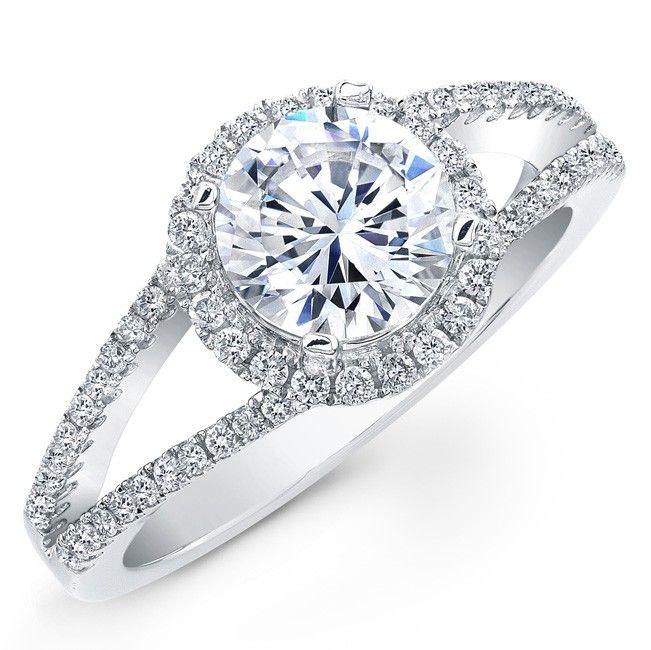 14k White Gold Split Shank Halo Diamond Semi Mount Engagement Ring NK19640ENG W Wedding