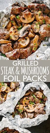 Photo of Steak and Mushrooms Foil Packs  Quick and delicious foil-pack dinner loaded wit