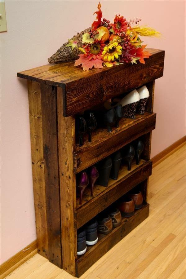 DIY Aged Pallet Shoe Rack Or Used As A Wine Rack ~ 101 Pallets