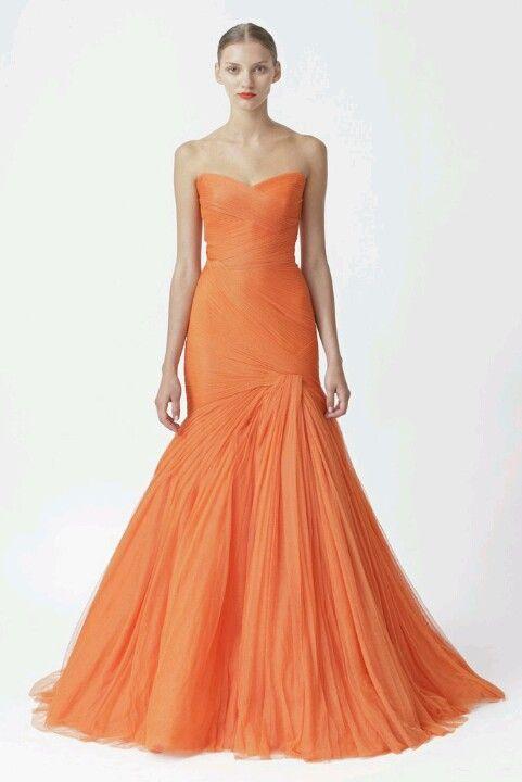 Orange gown.   dressHer   Pinterest   Gowns, Elegant gown and Orange ...