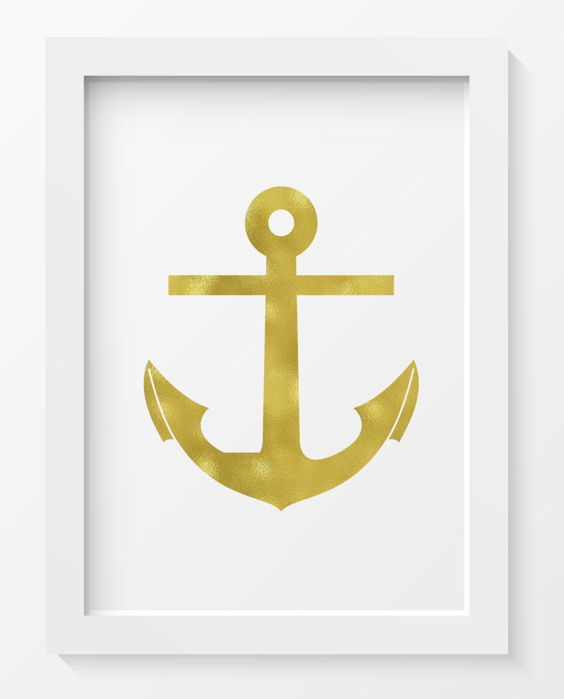 Gold foil Anchor print, Anchor print, Nautical decor, Nautical print ...