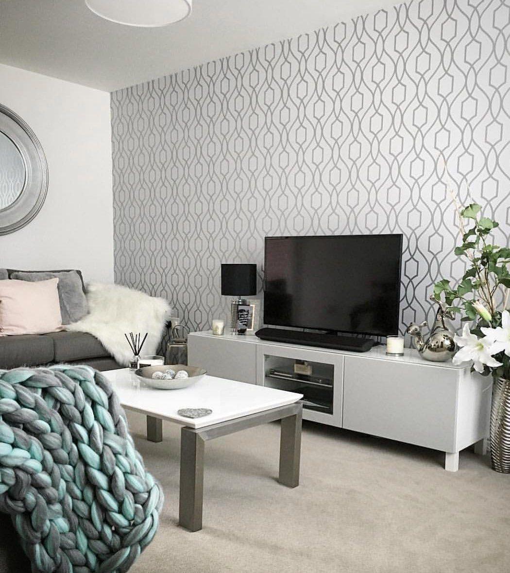 Wm4199501 Wallpaper White Gray Silver Geometric Trellis Metallic 3d Feature Wall Living Room Living Room White Feature Wall Wallpaper #wallpaper #ideas #for #living #room #feature #wall