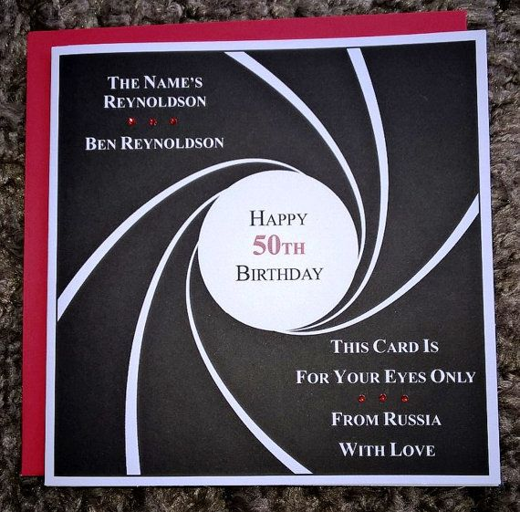 Handmade 6 Square Personalised James Bond 007 Themed Etsy Birthday Cards Personalized Birthday Happy 50th Birthday