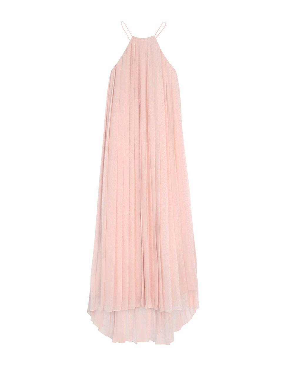 Tibi silk chiffon halter dress. We love this modern silk pleated halter  dress in the faintest shade of blush. Flowy and ultra feminine. 5a060aade