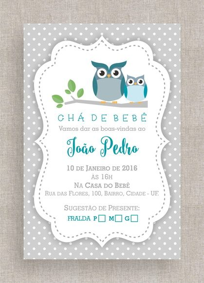 Convite Digital Chá De Fraldas 44 Bebê Pinterest