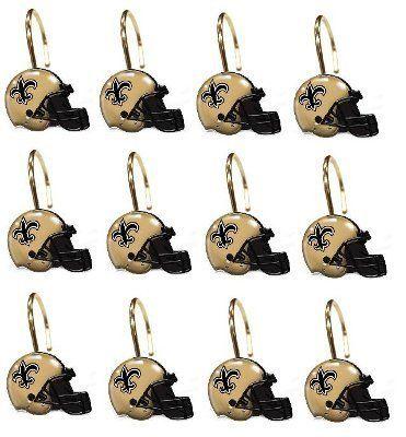 New Orleans Saints NFL Football Team Set Of 12 Bathroom Shower Curtain Hooks By Northwest 2099