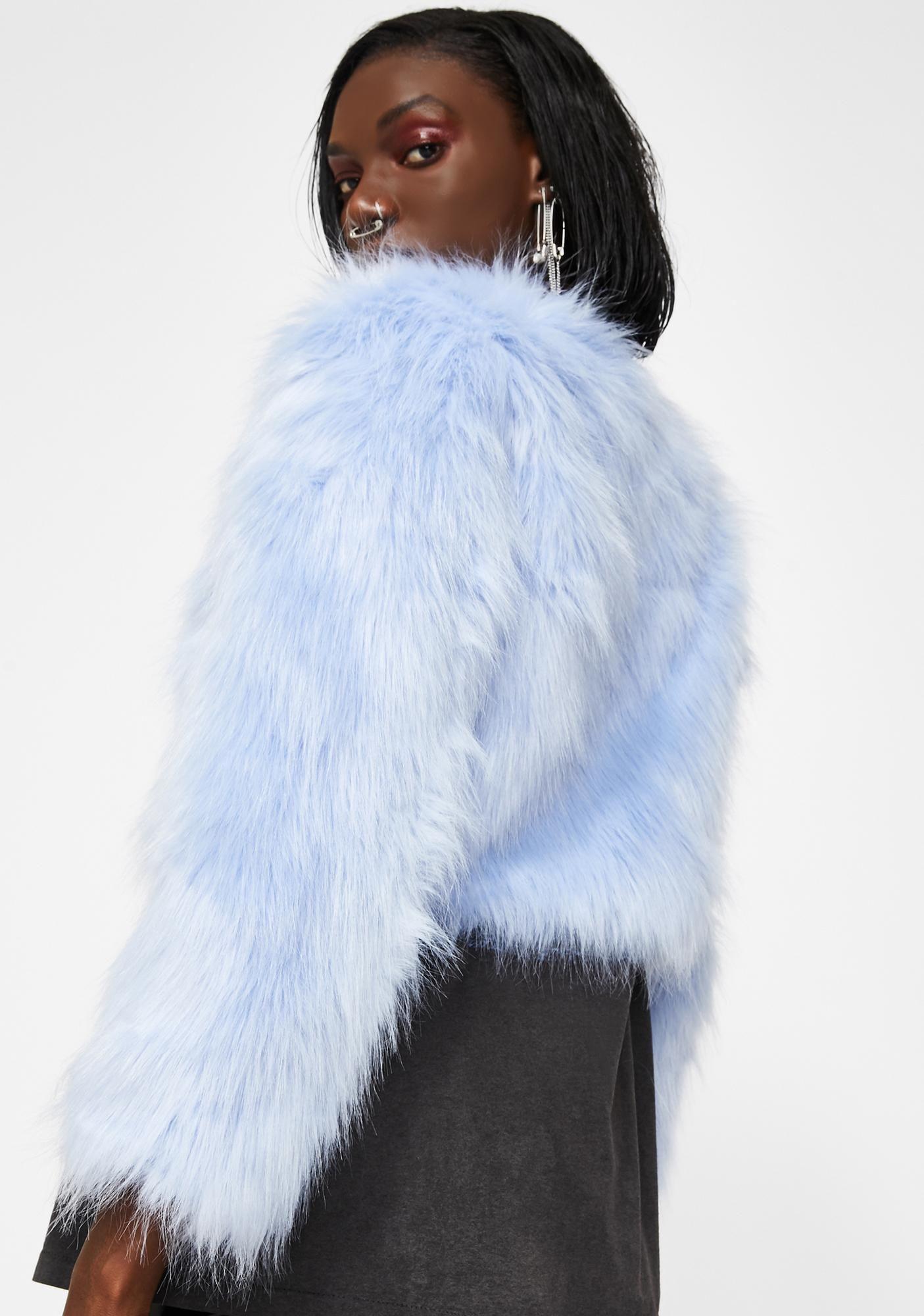 Azalea Wang Light Blue Michigan Ave Fuzzy Jacket Dolls Kill Fuzzy Jacket Jackets Faux Fur Hoodie