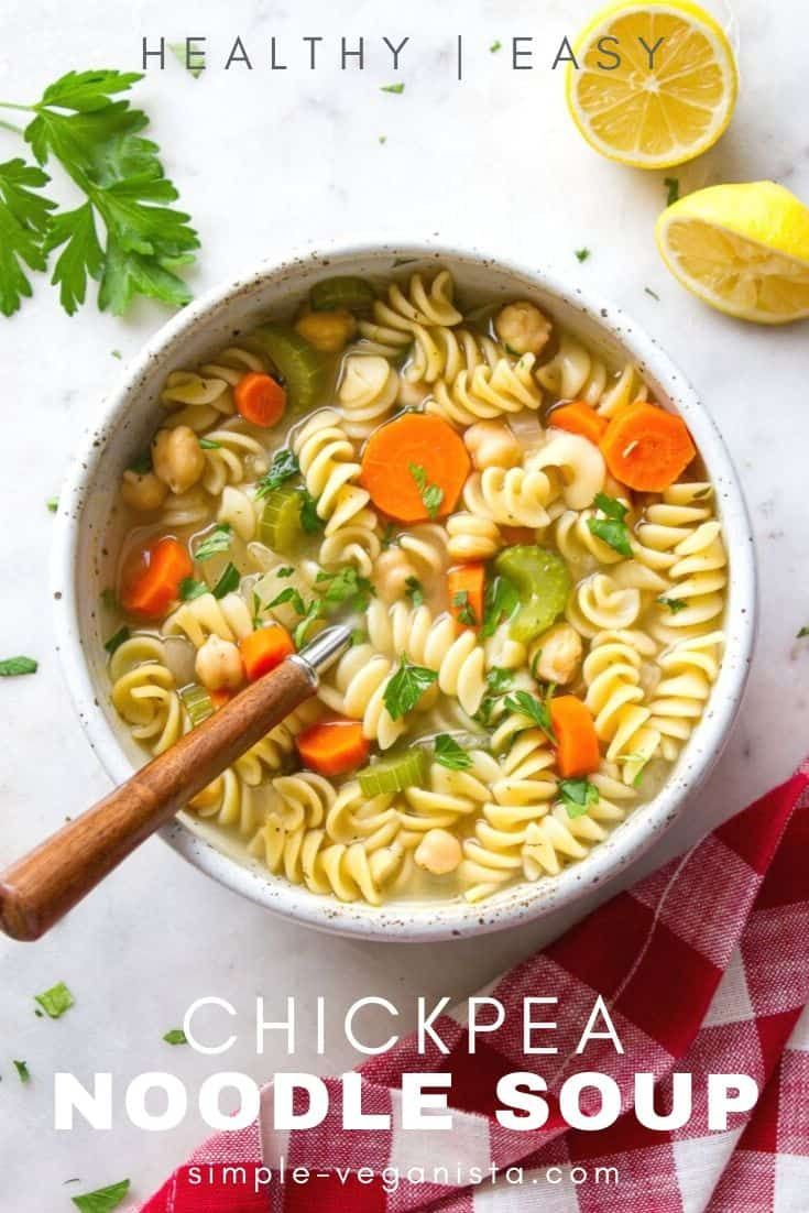 Vegan Chickpea Noodle Soup is loaded with veggies, protein rich chickpeas, hearty pasta & flavorful herbs, and ready in 30 minutes! May I also add that this recipe requires minimal chopping, uses mostly pantry ingredients and is a budget friendly lunch, dinner or meal prep idea. It's sure to be a new healthy favorite for the meal rotation! #chickpeanoodlesoup