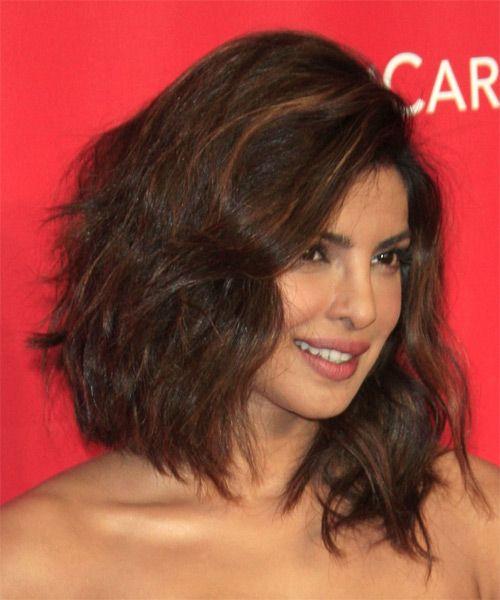 Priyanka Chopra Medium Wavy Casual Hairstyle Brunette Hair Color