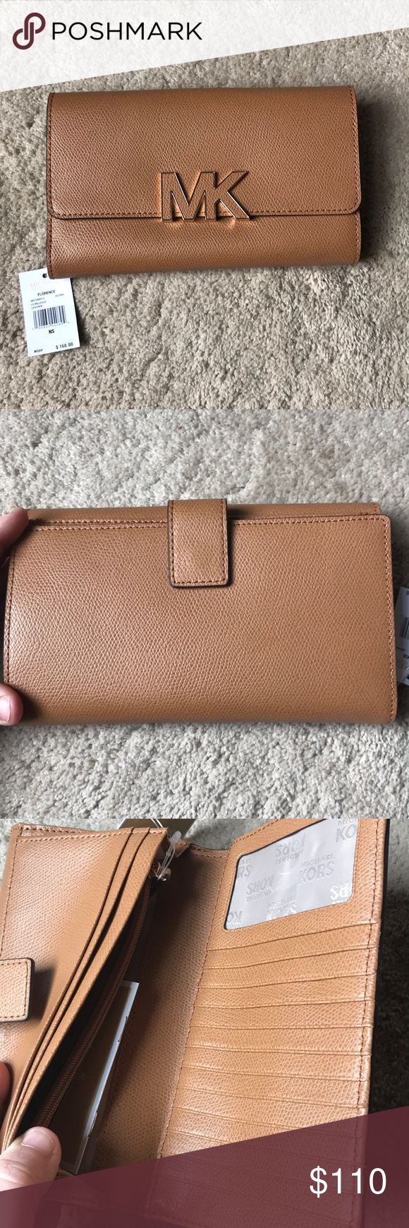 Nwt Authentic Michael Kors Wallet Billfold Satchel Small Acorn
