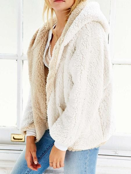 Reversible Fuzzy Faux Fur Hooded Coat  4143f79c1