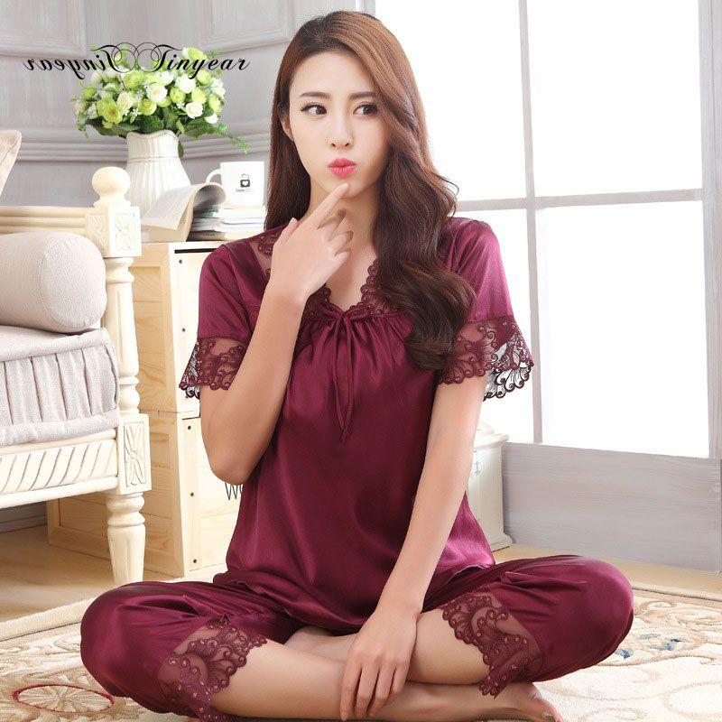 e88e9f90b Encontrar Más Conjuntos de pijamas Información acerca de Nueva llegada de  las mujeres del verano de manga corta ropa de dormir conjunto de pijama de  seda de ...