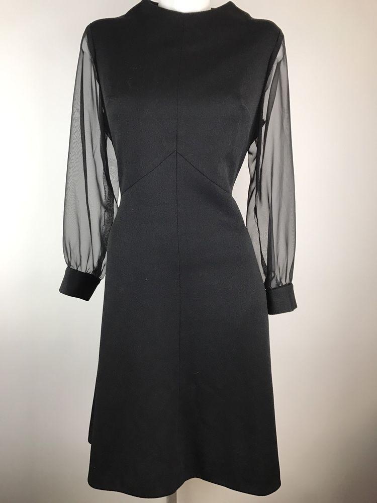 9966b87d518 Vintage Black Gogo Dress Sheer Sleeves 1960s Mod A line Goth Women s ...