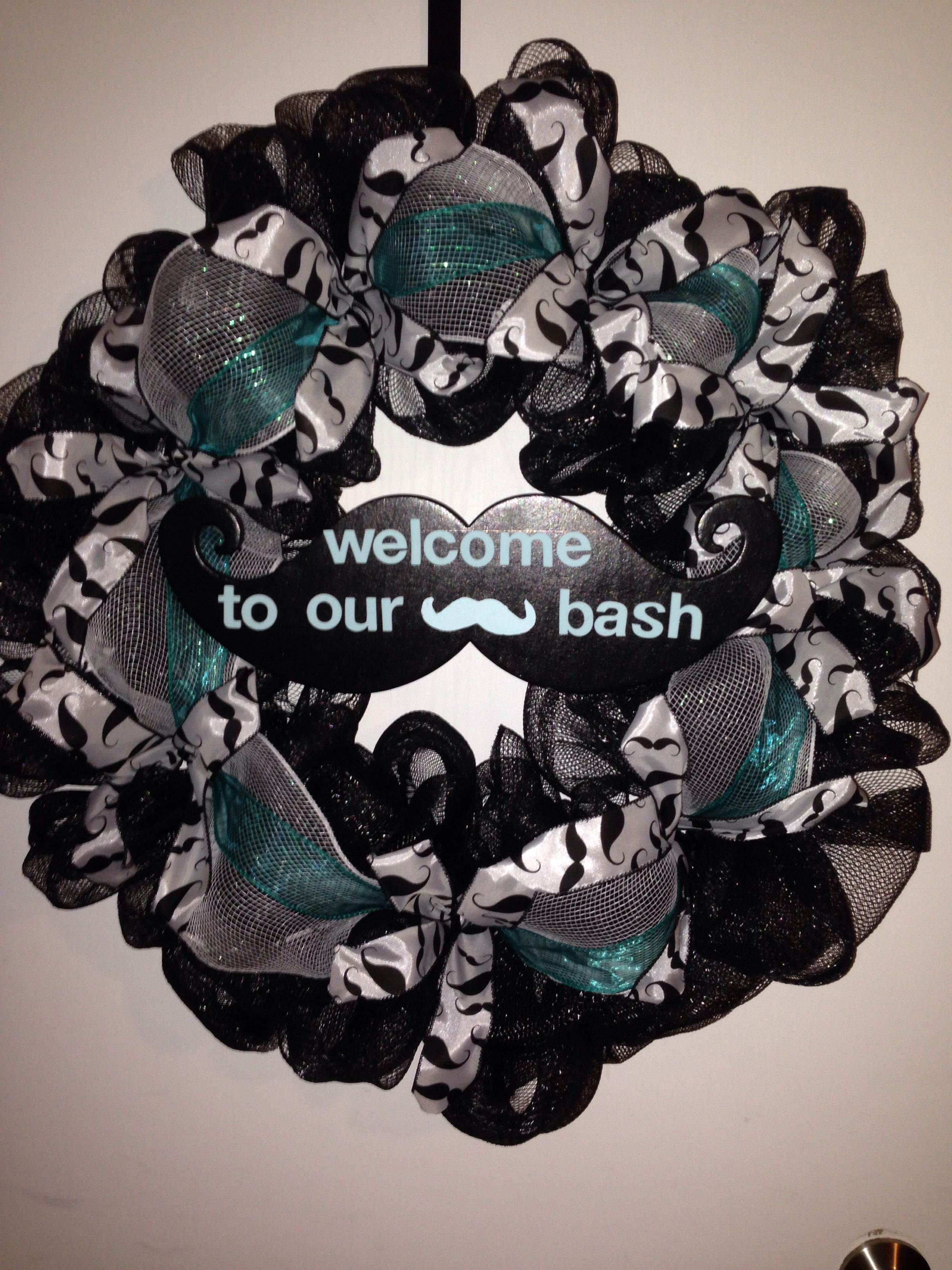 Deco mesh mustache theme wreath I made for my lil man\'s bday party ...