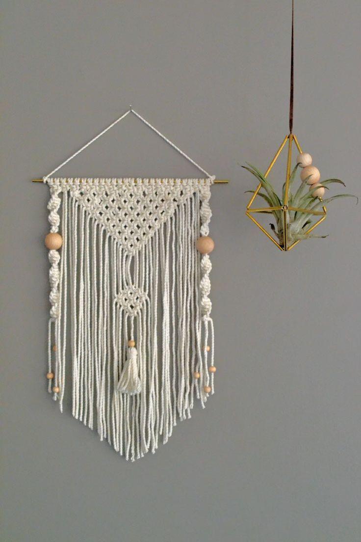 wall hanging tissage mural en macram blanc macrame macram macrame diy et tissage. Black Bedroom Furniture Sets. Home Design Ideas