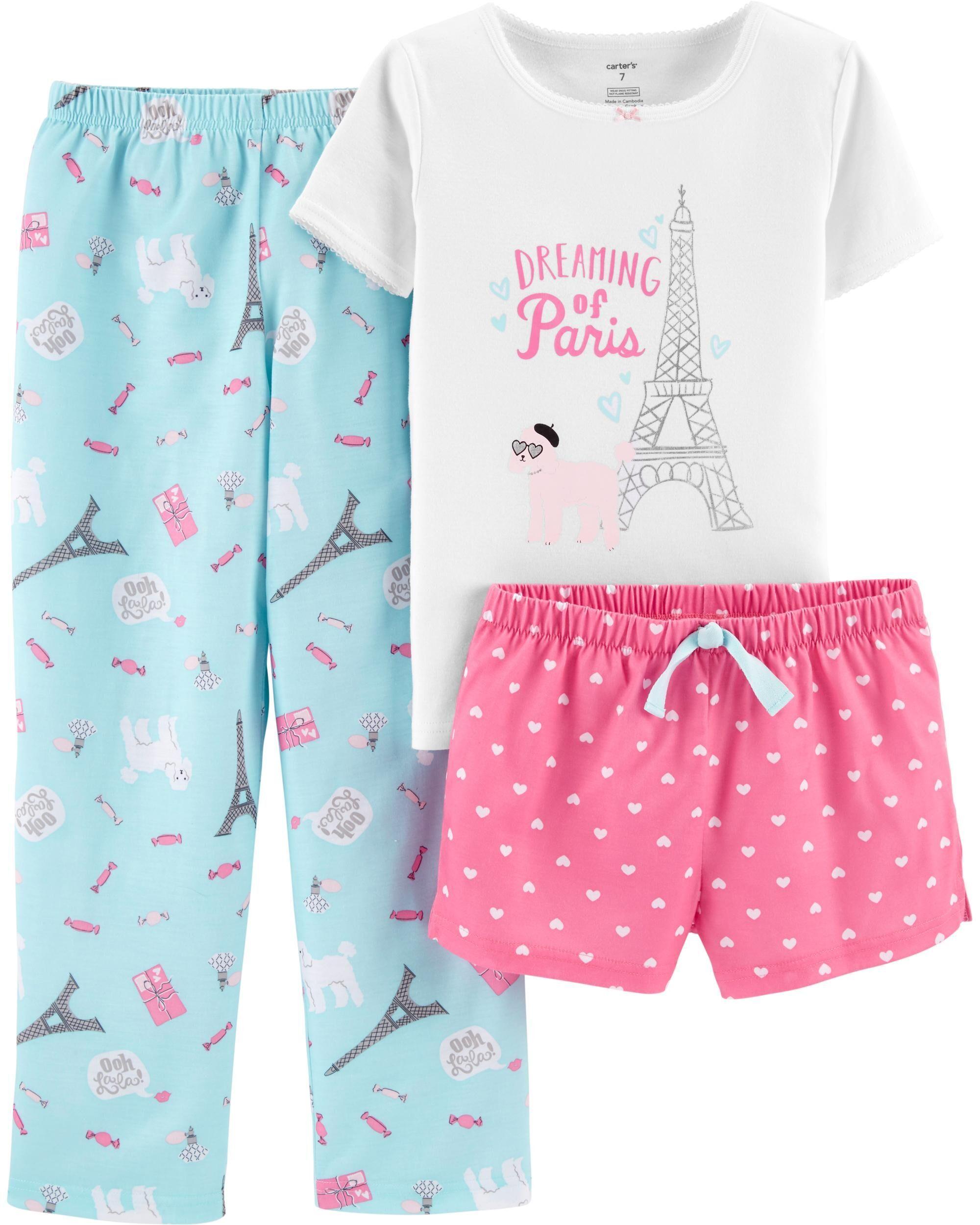 Always Happy, Newborn Carters Little Girls 3 Piece Pajama Clothing Set