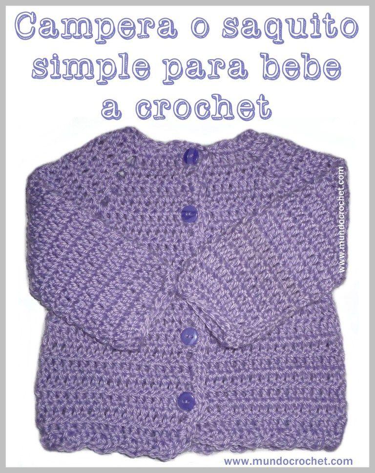 Patron saquito o camperita simple para bebe a crochet o ganchillo ...