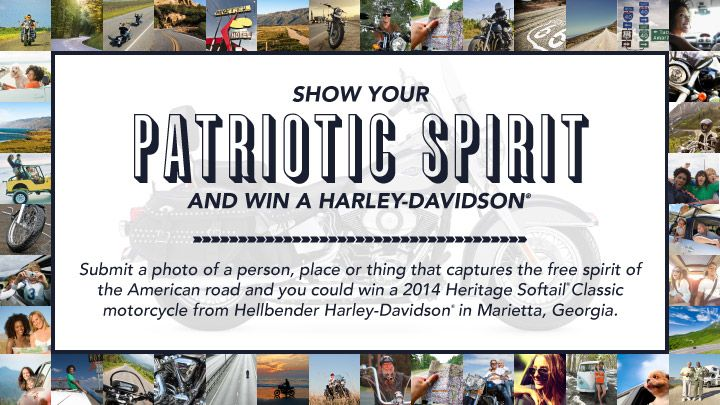 Post a photo that celebrates the free spirit of the American road and you could win a Harley-Davidson® Heritage Softail® Classic. One of us could be riding sweet! #LetFreedomRide