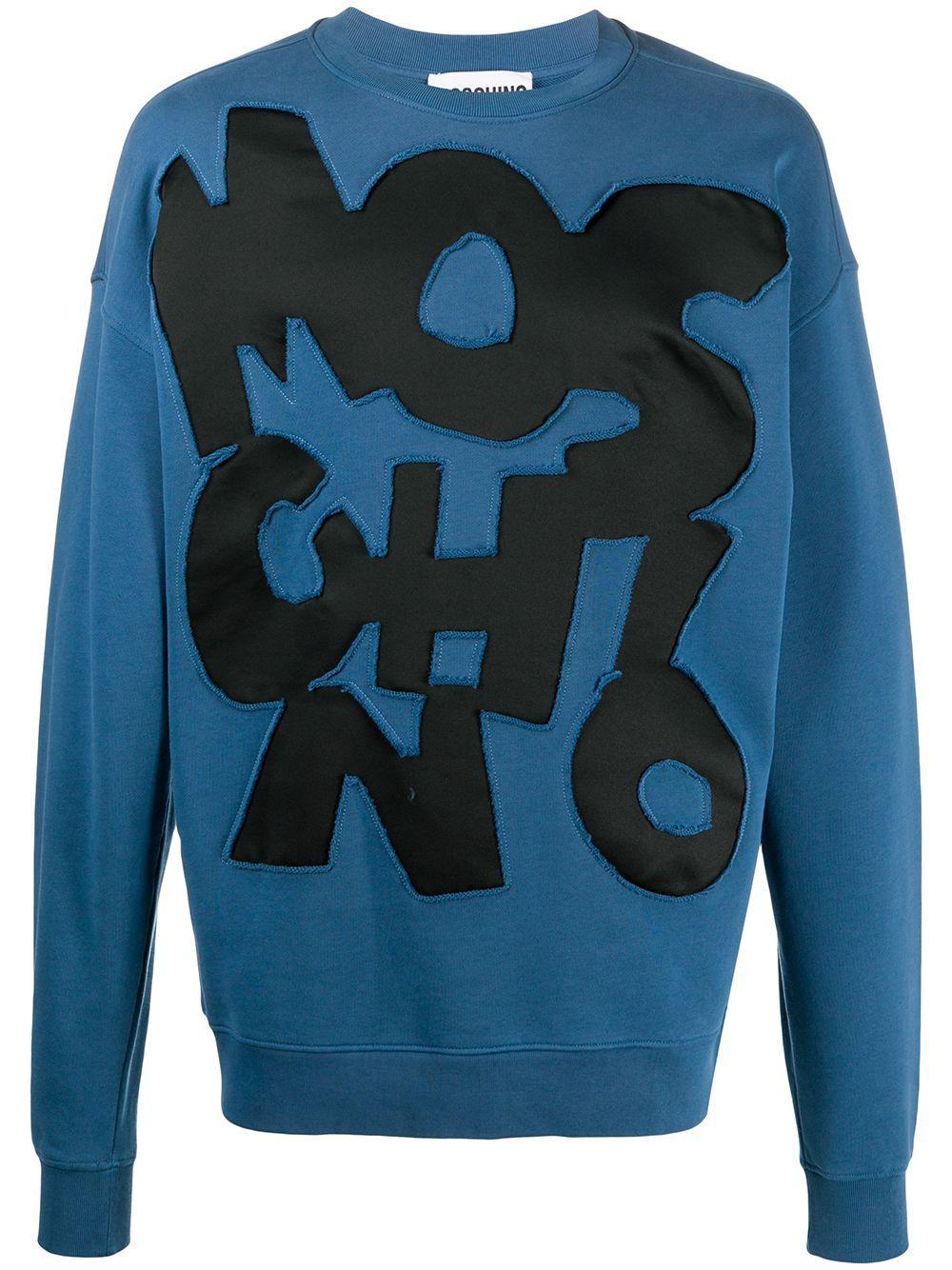 Moschino Applique Logo Cotton Sweatshirt Farfetch Cotton Sweatshirts Sweatshirts Knitwear Men [ 1334 x 1000 Pixel ]