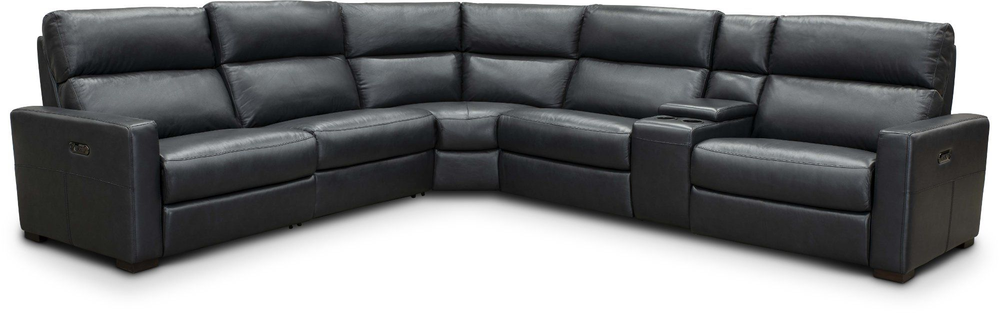 Navy Blue Leather Match Power Reclining Sectional Sofa Angler