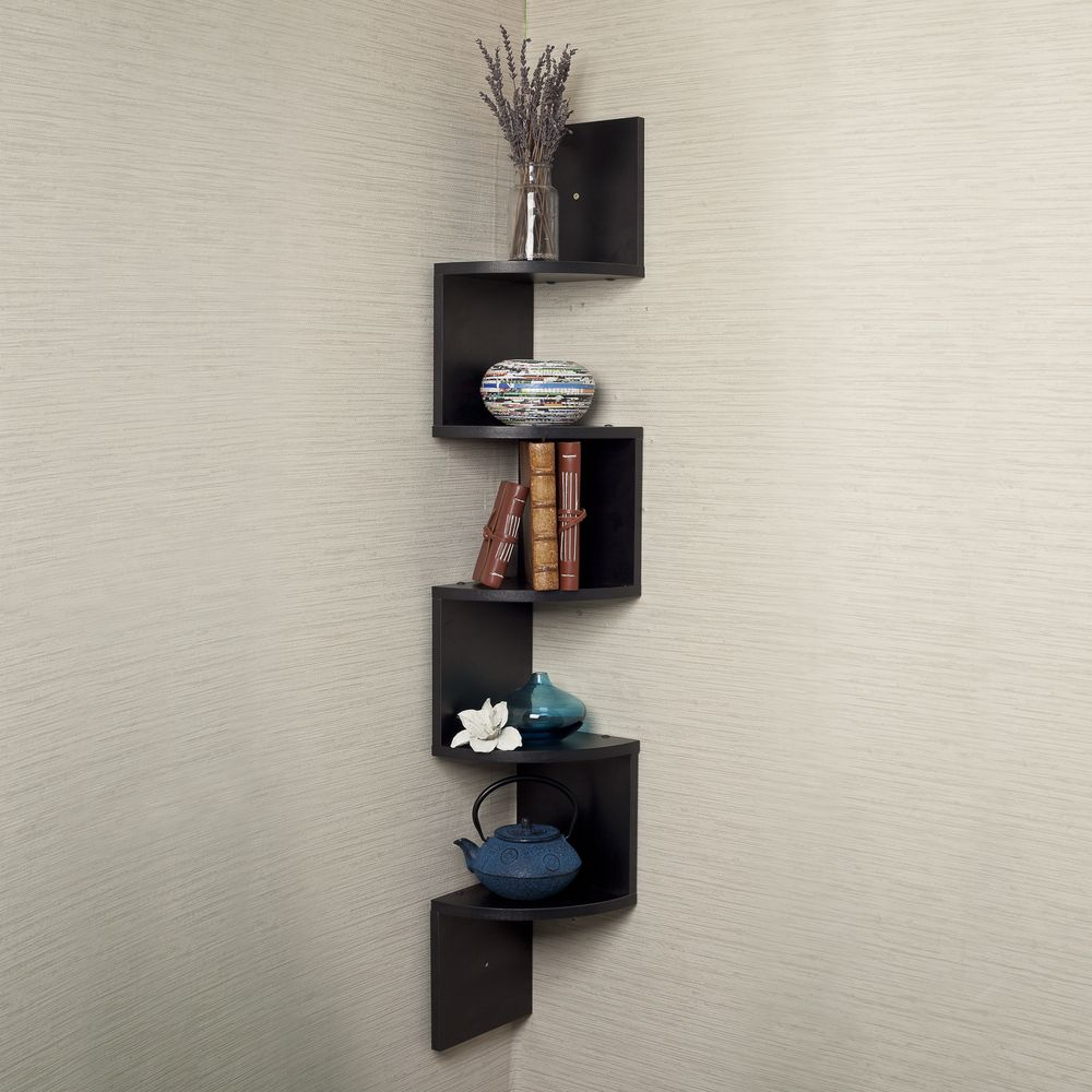 Black Laminate Large Corner Wall Mount Shelf Danya B Mdf