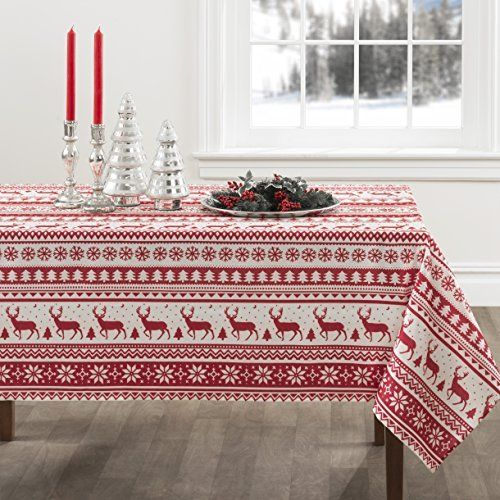 Red And White Nordic Scandinavian Style Christmas Tablecloth Christmas Table Cloth Nordic Christmas Christmas Tablecloth Ideas