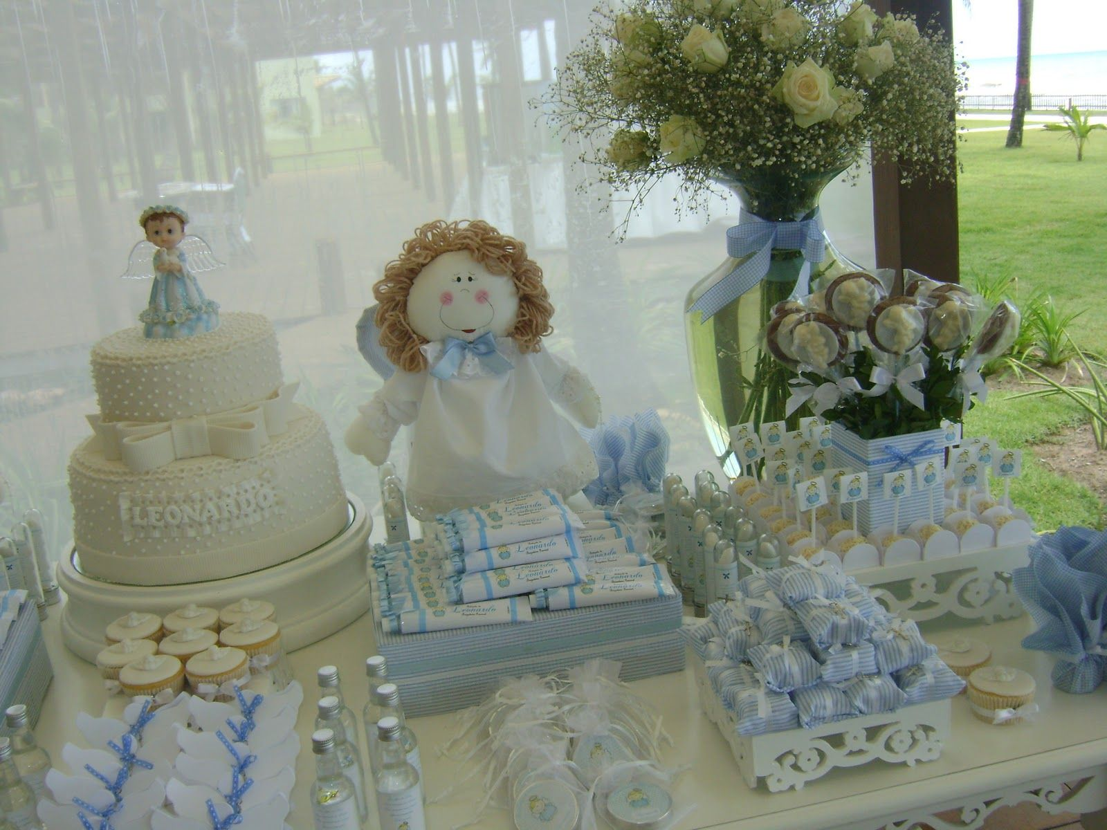 Christening centerpieces for girls more baptism for Baby boy baptism decoration ideas