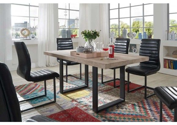 Design#5000541: Esstisch in eiche massiv, weiß gekälkt, eisengestell in grau, maße .... Esstisch Eiche Grau