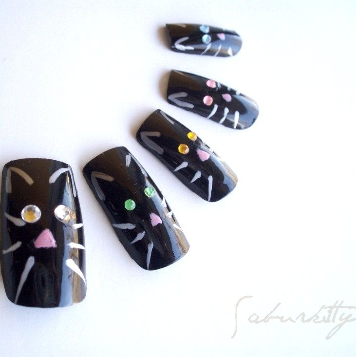 Cats Eye Nail Art (3d nail art, black, fake nails, acrylic ...