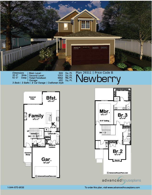 2 Story Traditional House Plan Newberry