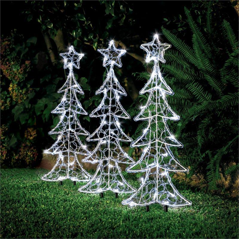 Lytworx Warm White Solar Tree Stake Lights 3 Pack Bunnings Warehouse Solar Tree Christmas Decorations Types Of Lighting